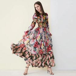 Vestito da sera di modo delle signore, vestito lungo tessuto di /Polyester da stampa chiffona del fiore