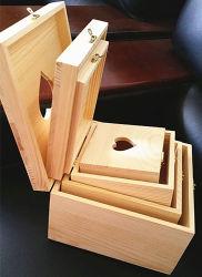 4 provetes Heart-Shaped Caixa de oferta de madeira Conjunto caixa de armazenamento de madeira