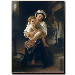 La decoración de alta calidad al por mayor de pintura al óleo, pintura de la decoración del hogar, el arte de pintar (joven madre mirando a su hijo)