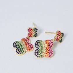 Multi Farben-baumeln neuer Form-Blumen-Entwurf Absinken-Stift-Ohrringe mit KubikZircon