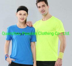 昇進の印刷のスポーツを広告する卸売によってカスタマイズされる安い綿かポリエステルはTシャツを誓う