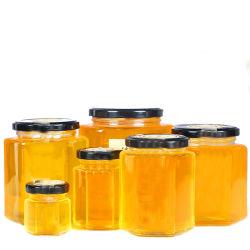 45ml-1000ml hexagonal, el almacenamiento de comida de tarro de miel de vidrio con tapa de la orejeta de metal
