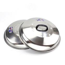 Heißer VerkaufCookwareWok, der den Edelstahl des Deckel-410 kocht Potenziometer-Deckel mit hitzebeständigem Griff begießt