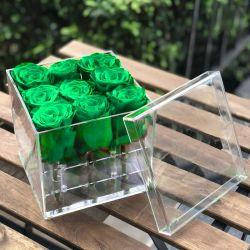 Personnalisé de haute qualité en acrylique transparent carré préservé 9 Rose Vase luxe éternelle cadeau de fleur de plexiglas Boîte avec couvercle