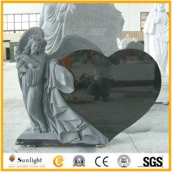 묘비를 위한 까만 백색 천사 묘석 화강암 대리석 천사 심혼 검정 화강암 돌 묘석 또는 기념물 또는 묘석