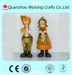 Figurine en résine Thanksgiving Day couple charmant Figurine Décoration de récolte