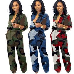 Ultimi Jumpsuit da donna firmati a manica lunga con patchwork autunnale Tie Dye elegante Jumpsuit da donna