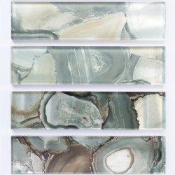 Bloc de pierre de marbre de grains de verre 75 * 300 * 8/6 mm pour baignoire/du carreau du toit de tuiles de marbre poli/pierre//