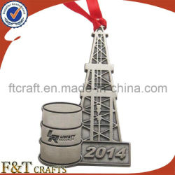 Silk Ribbonの記念品Decoration Antique Plating Metal Tower Shape Pendant