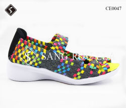 Beiläufige Keil-Ferse-Frauen-Webart-Turnschuh-Schuhe