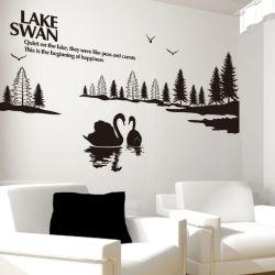 Kundenspezifische Wand-Dekor-Swan See-Wand-Aufkleber-Ausgangsdekoration