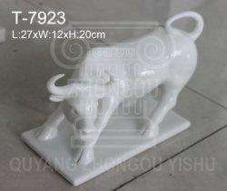 La Sculpture d'animaux, marbre Bull Statue de la Sculpture, Décoration maison