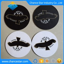 Cor dourada personalizado papel impresso o papelão drinque coasters