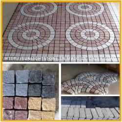 Naturelle gris/noir/rouge/jaune/Jardin de granit de cailloux/ Cube/Flag/freiner/blind/forme/du ventilateur de pavés pour l'aménagement paysager
