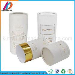 Het witte Ronde Vakje van de Buis van het Document met het Gouden Stempelen van de Folie voor de Fles van het Parfum