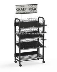 Четыре уровня пиво полки Металлические полки с самоустанавливающимися колесами с маркировкой CE (G-DS02)