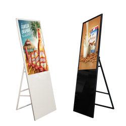 Suelo de 43 pulgadas publicidad plegable LCD de pantalla LED de señalización digital medios de comunicación de vídeo portátil, reproductor de Ad para Restaurante/Hotel/Promoción