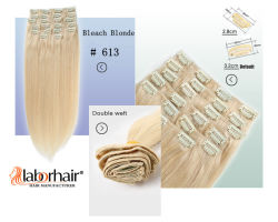 Clip in Human Hair Extension Beste Qualität #613 Remy Hair 100 g/120 g/160 g Pro Packung, Clips Lbh 120