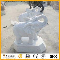 Натуральный камень чистого белого мрамора стороны резные статуи животных для украшения