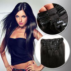 Natürliche Farbe populärer menschlicher Remy Haar-Extensions-Klipp