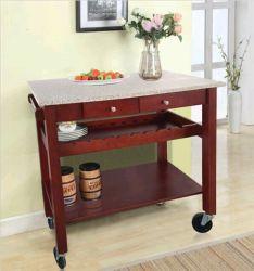 Mobiliário de cozinha em madeira de pinho Carrinho de cozinha topo Carrinho de cozinha de granito para o vinho tinto Carrinho de madeira