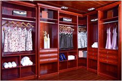 Quarto Closet Armário de madeira de carvalho vermelho sólido W3006