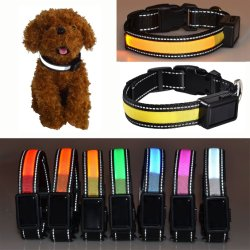 D'éclairage LED l'énergie solaire et l'USB Charing Nylon Chat Collier pour chien de lumière pour les petites et moyennes gros chiens