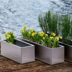 Jardim e mobiliário Comercial Flowerpot de Aço Inoxidável pote de flores de metal da plantadeira em Rack