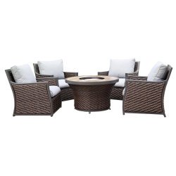 Garden Outdoor Gas Camino Rattan Furniture Lounge Sedia Fire Pit Set Tavolo
