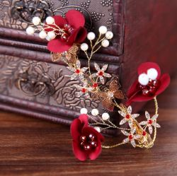 Festliche chinesische rote Serien-bräutliche herrliche Haar-Klipps