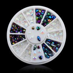 믹스 컬러 디시 패키지 제조업체 Paradise Flatback Shine Crystal Glass 3D 네일 아트 장식 크리스탈 네일 스톤