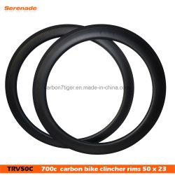 OEMの軽量の安いカーボン20 38の50の60の88の縁700cの道23/25の幅のクリンチャーの管状の自転車の縁
