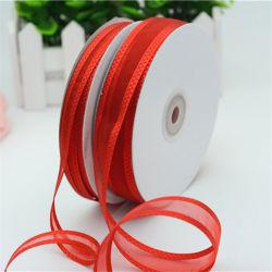 Amostra grátis por grosso de fita de rolo de fita de nylon Organza Cor para embalagem de casamento
