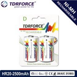 1,2V Faible auto-décharge rechargeables nickel-hydrure métallique de la Chine batterie Fatory (RH20-D taille-2500mAh)