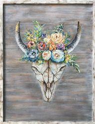 Grande cranio dipinto a mano del Bull con l'illustrazione contemporanea della decorazione della parete del fiore della pittura a olio moderna di legno di arte (40 x 30 pollici) GF-P19052758