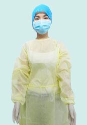 Abito a gettare di isolamento/breve cappotto bianco 100% del laboratorio del cotone del manicotto