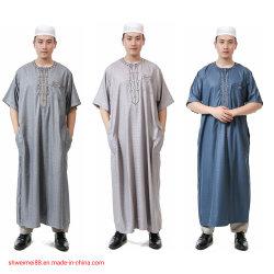 メンズ円形のNecekのイスラム教短い袖のサウジアラビアのThobeイスラム教のドバイローブ