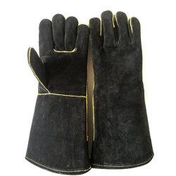 De zwarte Handschoenen Van uitstekende kwaliteit van het Lassen van het Werk van de Lasser van het Leer van de Koe Gespleten Hittebestendige Beschermende