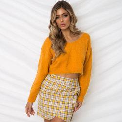셔츠를 기인하는 스웨터가 크기 스웨터 v 목 플러스 여자의 가을 겨울 형식 토끼 스웨터 긴 소매 느슨한 태양열 집열기에 의하여 오픈 백에 뜨개질을 한다