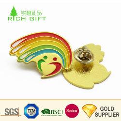 Fournisseur d'or de la Chine en alliage métallique personnalisé de l'émail fleur rose rose rouge de l'épinglette avec clip de Papillon