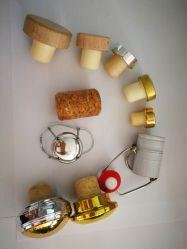 Bouchons de bouteilles en verre, divers matériaux, les dessins des bouchons de liège