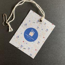 Eco-Friendly Custom Branca Natural Lona de Algodão bebê tecido chapéus Unkut calções de roupa pendurada Tag para roupa Etiqueta de Giro
