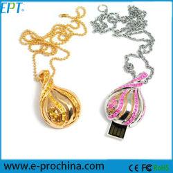 Jewelled USB-Blitz-Laufwerk-hängender Halsketten-Diamant USB-Flash-Speicher