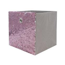 Casiers de rangement pliable, décoratif Square Box Set, de stockage Stockage pliable oursons avec Flip paillettes Pink&Silver