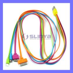 Цвета радуги 1 м 4 в 1 рисовая лапша Sync плоский удлинитель USB кабель зарядного устройства от воздействий молнии для Galaxy примечание 3 / S5 / iPhone 8 7 6 5 5 с 4G