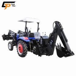 China Máquinas Agrícolas Fabricante 40HP 4X4 4WD pequeno jardim compacto barato Mini Roda Trator Agrícola com a pá carregadeira e retroescavadeira Lista de preços de venda