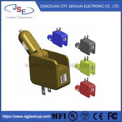 شاحن سيارة متعدد الوظائف للتيار المستمر والتيار المتردد وشاحن حائط مع مؤشر LED