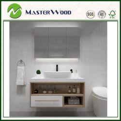 Open Storage Wooden Bathroom Vanity Cabinet with Marble Countertop