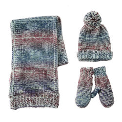 Handschuh-Hut-Schal-Set der Dame-Winter Fashion Chunky Knitting Ombre