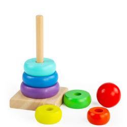 Bagues d'empilage Bac de réception en bois jouet Toddler Puzzle d'apprentissage des jouets pour enfants
